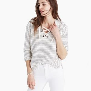 MADEWELL | WHITE LACE UP 3/4 SLEEVE SWEATER